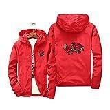 Herren/Damen Strickjacke Kapuzenjacke Frauen und Männer Herbst Langarm mit Kapuze Sweatshirt Rosen Druck Rosen Pullover Sonnencreme (3XL, Rot)