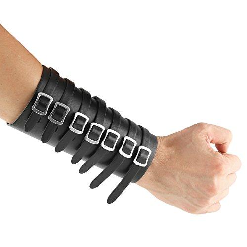 Arm Guards Leder Kostüm - HZman Lederhandschuh, mittelalterliche Armmanschetten mit breitem Armreif, Schwarz, 1 Stück