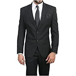 ManQ Black Slim Fit Formal/Party Men's Blazer