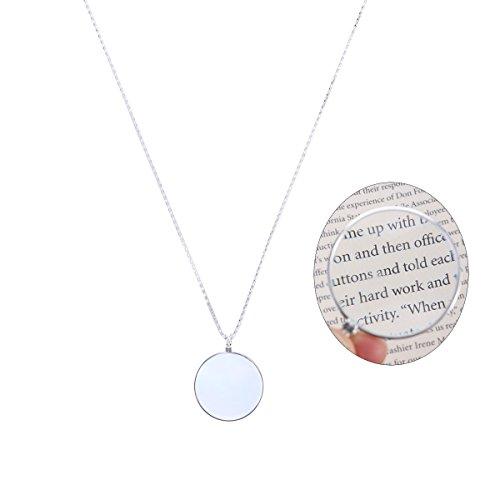 LUOEM Lupe Halskette Optical Anhänger Halskette Monocle Halskette Lupe mit 5X Lupe Objektiv (Silber) (Einfach Kostüme Zu Machen)