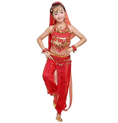 Anguang Mädchen Kinder Bauchtanz Kostüm Set Halloween Karneval Hosen Tanzkleidung Rot#4 S (Super Süße Mädchen Halloween Kostüme)
