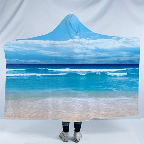 WWTZ Starfish und Ocean Hooded Blanket Coole 3D-Druck Sherpa Fleece tragbare Decke für Erwachsene Blue Throw Blanket Manta - Fleece-stoff Ocean