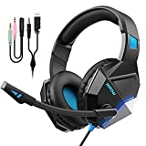 Mpow Gaming Headset for PS4/Xbox One/PC, 50mm Stereo Driver, Upgraded Lightweight Durable Material-254g Comfort Fit, Flexible Noise Canceling Mic, Cool LED Light, Quick Volume & Mute In-line Control
