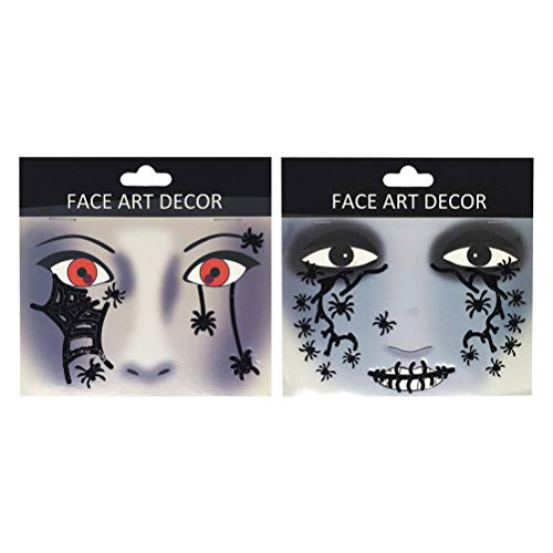 Lurrose 2pcs Temporäre Tattoo Aufkleber Glitter Halloween Spinne Gesicht Aufkleber Dekorationen