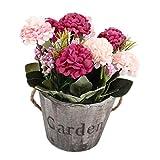 B Blesiya Kunstblumen Gefälschte Blume Kunstpflanzen Ornaments für Innen/Außen Deko - Rose Rot 2#