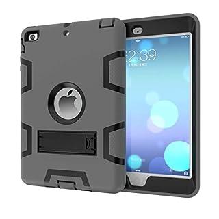 iPad Mini 3 2 1 Hülle,Allbuymall Drei-Schichten-Schutz Outdoor Außenbenutzung 3in1 Stoßfest Schutzhülle Case Cover für Apple iPad Mini 3 / 2 und 1 Generation 7.9 Zoll-(Grau+Schwarz)