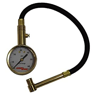 Accu-Gage RA60X (5-60 PSI) Right Angle Chuck Dial Tire Pressure Gauge with Hose by Accu-Gage