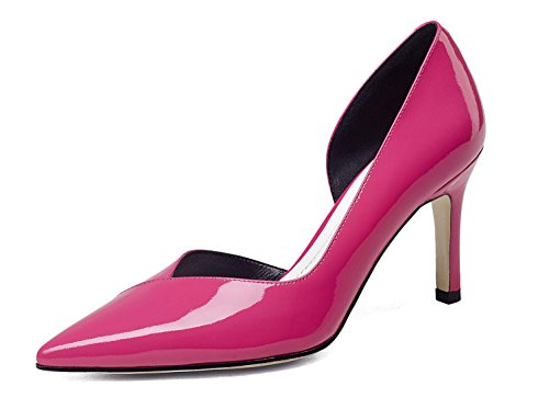 SHIXR Femmes Pompes Femmes Court Chaussures Fine Mouth Talons hauts Sandales à bride de cheville rose rouge