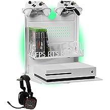 GameSide Bundle Big Daddy - Horizontal wandhalterung mit Kühlgebläse, vielfarbig led licht für PS4, Slim und Pro, PS3, Xbox One X, Xbox One S, Xbox 360 | Raum für 16 spiele, 2 pad | WEIß