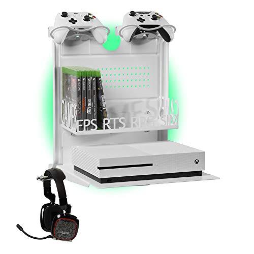 GameSide Bundle Big Daddy - Horizontal wandhalterung mit Kühlgebläse, vielfarbig led licht für PS4, Slim und Pro, PS3, Xbox One X, Xbox One S, Xbox 360 | Raum für 16 spiele, 2 pad | WEIß (Xbox 360 Slim Bundle Weiß)