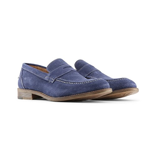 Made in Italia - LAPO Mocassins Homme Glisser Sur Penny Loafer Chaussures Royalblue