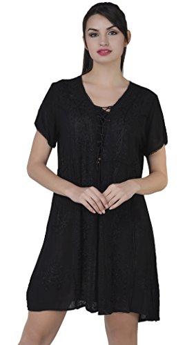 SKAVIJ Sommer Kleidung Top für Damen Schwarz Kurzarm Tunika Casual Mode Tshirt