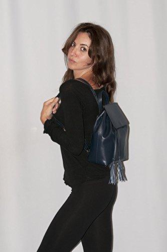 Borderline - 100% Made In Italy - Zaino Donna In Vera Pelle - Ilaria Blu