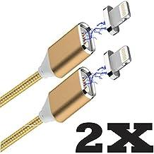 Qprods - Cable de carga magnética USB. Para carga y transferencia de datos de alta velocidad. Conector Lightning para iPhone 5 / 5S / 5C / 6 / 6plus / 6S / 6SPlus / SE / 7 / 7plus / iPad Air / Pro. Alambre Trenzado de Nylon. 100 CM. Conexión reversible. Oro. 1 año de garantia. Paquete de dos