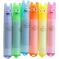 Minisubrayadores fluorescentes Fablcrew, punta fina, tinta permanente, con bonito diseño de ninja, 6 unidades, 6 colores