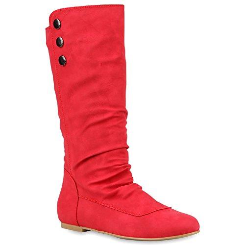 Stiefelparadies Stiefelparadies Damen Schlupfstiefel Boots Schuhe 125864 Rot 36 Flandell
