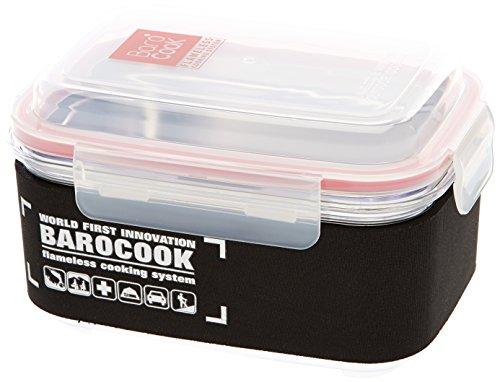Barocook Kochbehälter rechteckig durchsichtig, schwarz/transparenter deckel, 850 ml