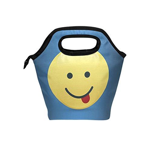 hunihuni Funky Emoji-isolierte Thermo Lunch Kühltasche Tote Bento Box Handtasche Lunchbox mit Reißverschluss für Schule Büro Picknick