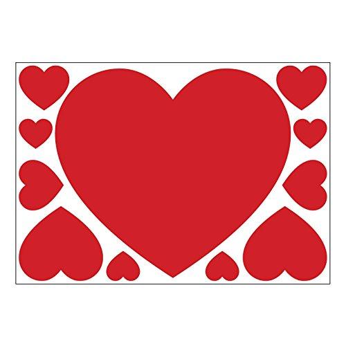Set di 11cuori rossi di san valentino in vinile autoadesivo per muri, finestre e vetrine, vinile, red, a5 sheet (small)