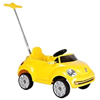 ROLLPLAY Push Car with Adjustable Footrest, For Children 1 Year and Older, Up to 20 kg, VW Beetle, Yellow