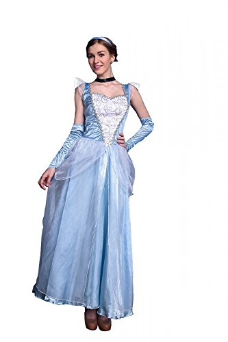Deluxe Kostüm - Cinderella lang Modell 2 - Prinzessin Märchen Frozen Elsa, Größe:S