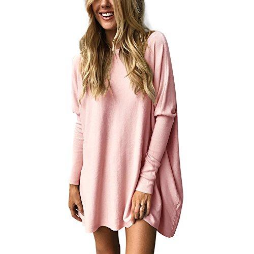 Lover-Beauty Langarmshirts Damen Lose Bluse Rundhals Sweatshirt Casual Pullover Fledermaus Oversized Oberteil Tunika Tops (Batik-bluse)