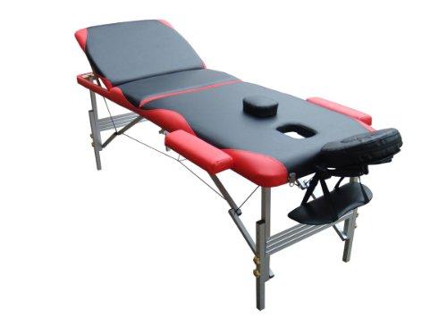 Melko® Tragbare Profi-Massageliege 3 Zonen aus Aluminium und Holz - in verschieden Farben (Aluminium, Schwarz / Rot)