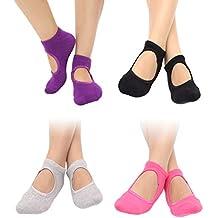 VORCOOL Calcetines de Yoga Antideslizantes Antideslizantes Pilates Ballet  Barre con puños para Mujeres niñas 4 Pares db4295ae0110