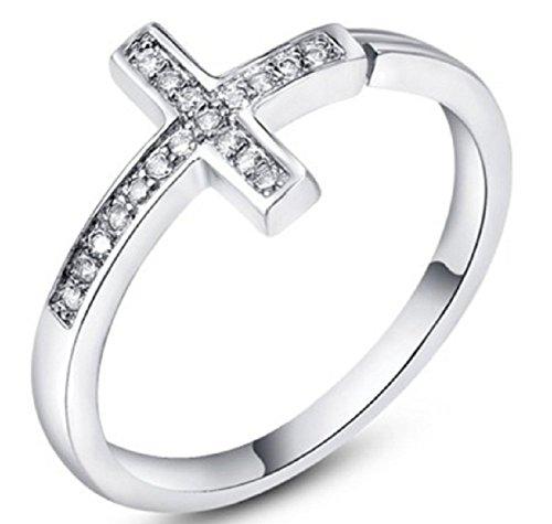 Bling Jewelry Donna Placcato platinnum cristalli pavimentazione Croce con anello (Platinum)
