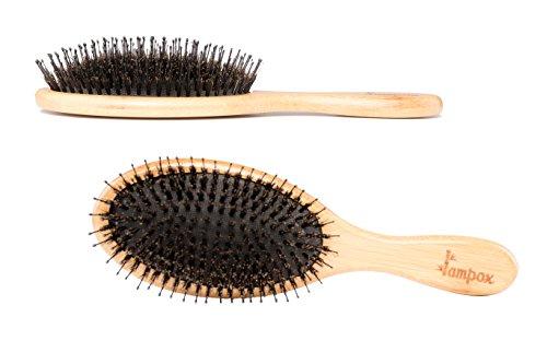 lampox® Bambus Haarbürste mit Wildschweinborsten I Schonendes Entwirren I Angenehme Kopfmassage I Verhindert Ziehen und Ziepen I Schonende und angenehme Haarpflege