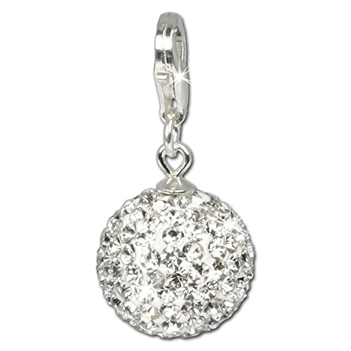 SilberDream Glitzer Charm Swarovski Kristalle Kugel weiß SHINY Anhänger 925 Silber für Bettelarmbänder Kette Ohrring GSC205 (Weiße Kugel)