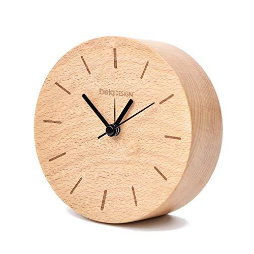 Glitz Star Holz FSC Buche Nacht Wecker Silent Alarm Klassische Round Table Büro