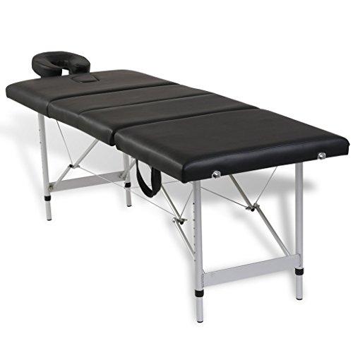 Festnight lettino da massaggio/trattamento/massaggtiante professionale pieghevole portatile con 4 zone telaio in alluminio e rivestimento in pelle artificiale/ecopelle bianco/nero/rosso/blu (nero)