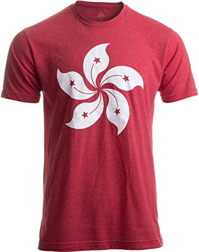 Ann Arbor T-shirt Co. Herren Hong Kong Flag Bauhinia Orchid Flower Hk China Poster Art Kowloon Asia T-Shirt Medium Vintage Red -