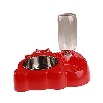 Roblue Bol Double pour Chien Chats Animaux de Compagne Bol de Nourriture Distributeur d'eau Automatique Section Grenouille Antidérapant en Plastique