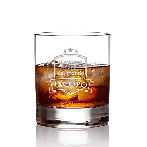 Amavel bicchiere con incisione - il miglior papà del mondo - blasone - personalizzato con [nome] - bicchieri whisky in vetro - tumbler basso - idee regalo per papà - regali festa del papà