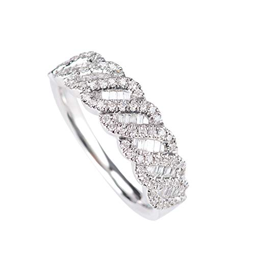 Natural Diamond Ring in 18k White Gold, Wedding Eternity Band Ring,9(15.1mm) (Band 18 White Wedding K Gold)