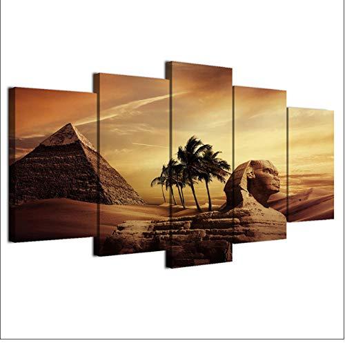 Dekor, Gerahmte Kunst (5 Stücke Pyramiden Ägypten Sonnenuntergang Landschaft Leinwand Gemälde Poster Modulare Dekor Zimmer Wandbilder Kunst Gerahmte HD Drucke)