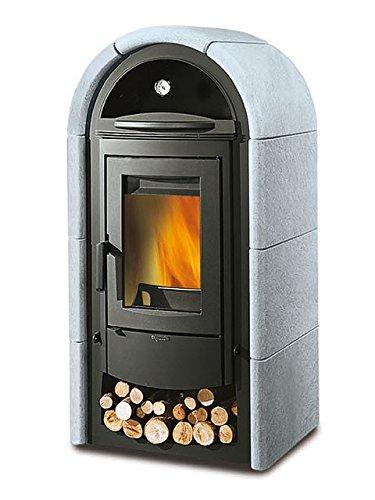La nordica - Stefany forno - poele a bois avec four - couleur : pierre naturelle