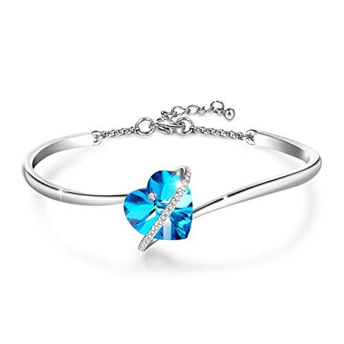 Jösva - braccialetto da donna con ciondolo a forma di cuore, con cristalli swarovski®, anallergici, colore: blu/rosa e placcato oro bianco 18 carati, colore: blue, cod. jysz003a