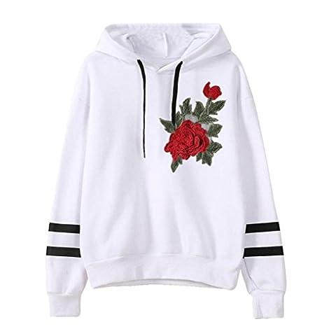 Hoodie Damen mit Aufdruck,Sannysis Frau Lange Ärmel Sweatshirt Pullover Tops Bluse (S, Weiß)