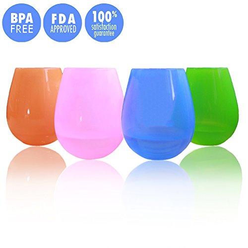 Kuke unzerbrechlich Silikon ohne Stiel Wein Gläser/Weingläser aus Kunststoff, BPA-frei, 12oz (Set von 4) 9oz (set of 4) 4 Farben (Kunststoff-wein-gläser Farbe Rot)