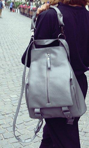 Mefly Neue Rucksack Waschbarer Leder Tasche Für Studierende gray