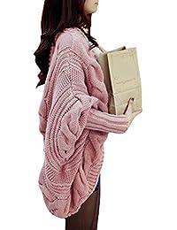 Brinny Dames Coréenne Cardigan Manteau Tricot Châle Manches à chauve-souris Pull Chandail Oversize Sweater 3 Couleur: Beige / Noir / Pink