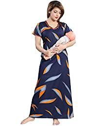 """LIFE-TALE™ Feeding/Maternity Cotton Nighty/Night Gown(Size:Free Length:54"""" Bust:44"""") …"""