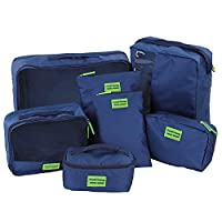 7Pcs Set Packing Cubes Travel Organizers Traveling Pack Storage Cosmetic Makeup Wash Bag Pouches(navy)