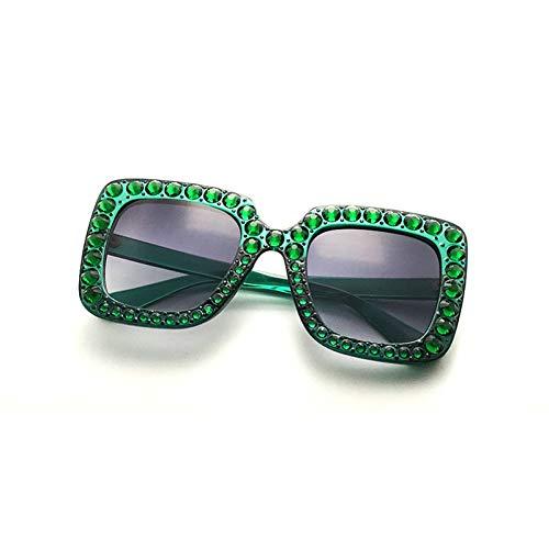 Siwen New Crystal Decoration Damen Square Sonnenbrille Übergröße Dunkelgrüner Rahmen Shades Uv400,Dunkelgrünes Grau