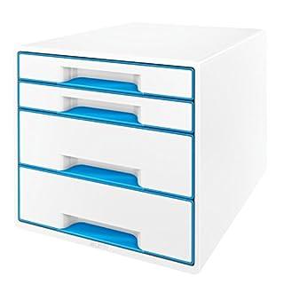 Leitz 52132036 WOW CUBE Schubladenbox, 4 Schubladen, blau metallic