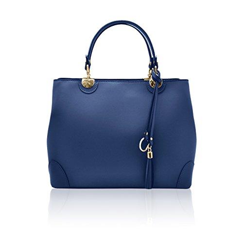 CRISTINA Sacs portés main sac à bandoulière avec pendentif avec franges en cuir lisse, fabriqué en Italie Bleu