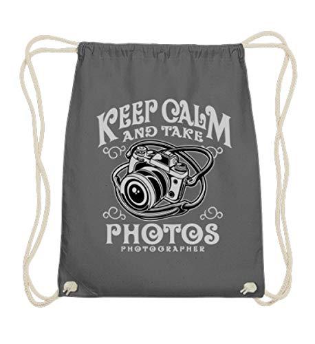 Shirtee Keep Calm And Take Photos Photography - Fotograf Fotografie Fotos Kamera Panorama Objektiv - Baumwoll Gymsac -37cm-46cm-Grafit Grau